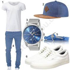 Weiß-Blaues Herrenoutfit für den Frühling 2018 #shirt #chino #cap #snapback #hugoboss #outfit #style #herrenmode #männermode #fashion #menswear #herren #männer #mode #menstyle #mensfashion #menswear #inspiration #cloth #ootd #herrenoutfit #männeroutfit #mann #gentlemen