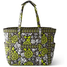 Vera Bradley Citron Get Carried Away Tote ($92) ❤ liked on Polyvore featuring bags, handbags, tote bags, tote handbags, tote hand bags, vera bradley tote, vera bradley tote bags and tote purse