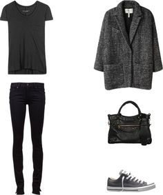 Oversized coats, sneakers & black = these are a few of my favorite things
