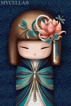 The Beauty of Japanese Embroidery - Embroidery Patterns Holly Hobbie, Daruma Doll, Thinking Day, Japanese Embroidery, Kokeshi Dolls, Your Paintings, Japanese Art, Japanese Kimono, Asian Art