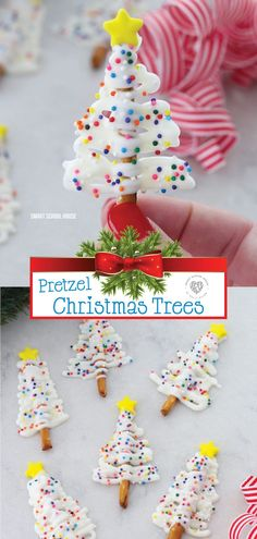 Take a look at these incredible Christmas trees made with pretzels. They are a quick treat that is delicious and fun. Using candy melts makes this treat so easy to make. The combination of the sweet a Easy Christmas Treats, How To Make Christmas Tree, Holiday Snacks, Christmas Goodies, Christmas Candy, Christmas Desserts, Christmas Baking, Holiday Recipes, Christmas Trees