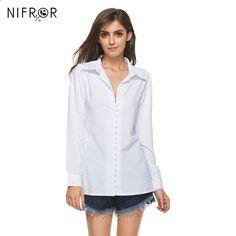 Plus velikost košile Dámské trička a blůzy Tlačítko V Neck Košile Bílé s  dlouhým rukávem Blůzka Tunika Dámské oblečení Blusa Feminina 7476c61747a
