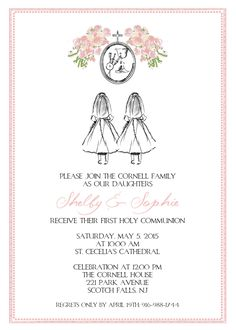 Printable 'Custom Sketch' Floral First Communion Invitation - Girl Twins/Triplets by CustomInkDesigns on Etsy https://www.etsy.com/listing/223306240/printable-custom-sketch-floral-first