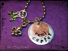 Custom Personalized Hand Stamped Necklace w/ Fleur by ILLBECHARMED, $22.00
