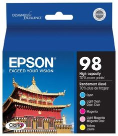 Epson Claria T098920 Hi-Definition 98 Extra High-capacity Inkjet Cartridge Color Multipack-Cyan/Light Cyan/Magenta/Light Magenta/Yellow by Epson. $65.99. Epson Claria T098920-S High-capacity Color Multipack (C/M/Y/LC/LM) Brand Compatibility : No. Remanufactured: No. Claria Hi-Definition Inks provide true-to-life colors for printing your best shots. Smudge-, scratch-, water- and fade-resistant photos for durable prints. Quick-drying Claria inks make handling photos w...
