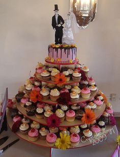 Day of the Dead wedding cupcake tower