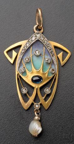 An Art Nouveau gold, diamond, sapphire, pearl and enamel pendant, by Alphonse Mucha, Bohemia, around 1900. Length 3.9cm. #Mucha #ArtNouveau #pendant