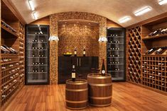 Lighting fixtures will undoubtedly improve the attractiveness of your cellar when placed strategically. Here are a few tips that will help you get the lighting of your wine cellar right. Led Display Lighting, Strip Lighting, Wine Cellar Design, Wine Shelves, Man Cave Home Bar, Types Of Lighting, Light Fittings, Hanging Lights, Cellar Ideas