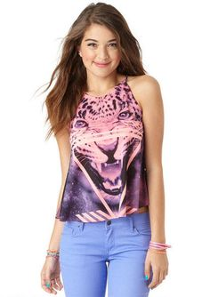 Purple And Pink Cheetah Face Tee