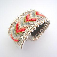 Bracelet brésilien SAN DIEGO n°1 corail pêche blanc : Bracelet par full-art