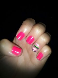 Nails!!!! I love the color and how it has the designs on that one nail ;) love it!!!!!!!!!!!!!!!!