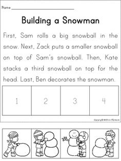 Sequencing Story ~ Building a Snowman by Erin Thomson's Primary Printables Reading Comprehension Skills, Writing Strategies, Comprehension Activities, Reading Skills, Sequencing Activities, Speech Therapy Activities, Story Sequencing Worksheets, Literacy Circles, Special Education Classroom