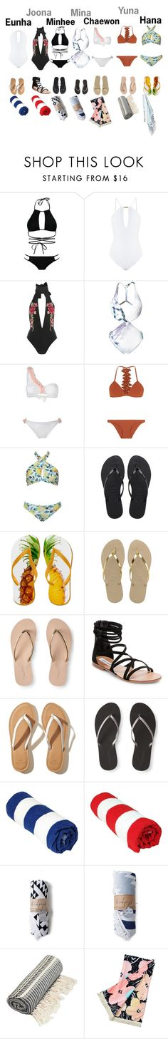 """""""☆Beach☆"""" by girl-gang-official ❤ liked on Polyvore featuring Boohoo, Melissa Odabash, Rare London, Fleur of England, La Revêche, Zimmermann, Havaianas, Aéropostale, Steve Madden and Hollister Co."""