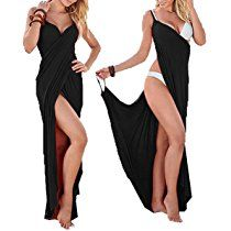 Yanekop Womens Sexy Deep V-Necklin Maxi Backless Beach Dress Bikini Wrap Long