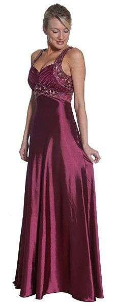 Plum Formal Gown Long Satin Beading Plum Empire Dress Lace Up Back Beautiful Prom Dresses, Beautiful Outfits, Purple Dress, Plum Dresses, Satin Gown, Military Ball, Cocktail, Alternative Wedding, Formal Gowns