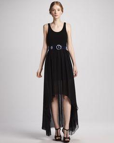 Liz Hi-Lo Maxi Dress & Patent Belt by Alice + Olivia at Neiman Marcus.