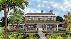 Traditional Style House Plan 63308 with 4 Bed, 4 Bath, 2 Car Garage Cottage House Plans, Cottage Homes, Cottage Style, Porch Plans, Family Room Fireplace, House Information, Home Additions, New Home Designs, Patio Dining