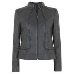 Buy Mint Velvet Leather Biker Jacket, Grey Online at johnlewis.com