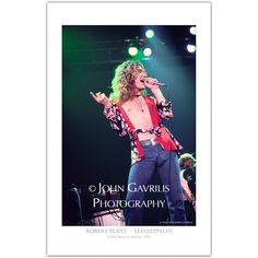 Robert Plant taken at the Long Beach Arena in 1975. Robert Plant of Led Zeppelin on stage.
