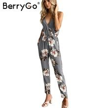 6b7a6f0c593c Hot Price BerryGo Casual flower print long rompers womens jumpsuit Sexy v  neck straight overalls Streetwear sashes chiffon jumpsuit