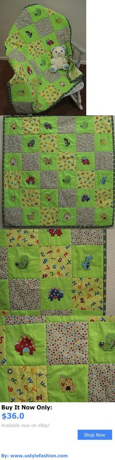 Quilts And Coverlets: Handmade Baby Quilt Comforter Patchwork Applique Dinosaur Alphabet Dots Green BUY IT NOW ONLY: $36.0 #ustylefashionQuiltsAndCoverlets OR #ustylefashion