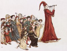 """The Pied Piper leads the children out of Hamelin. Illustration by Kate Greenaway for Robert Browning's """"The Pied Piper of Hamelin"""" Notice the clothing of the children. Art Prints For Sale, Fine Art Prints, Photos Hd, Brothers Grimm, Caricatures, Folklore, The Little Mermaid, Heavy Metal, Childrens Books"""