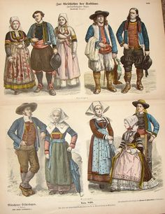 """Large fine art coloured lithograph print by BRAUN AND SCHNEIDER from """"ZUR GEIFCHICHTE DER KOSTUME"""" published in 1861 in Munich by Dr. G. Wolf & Sohn. This antique print's image is about 15"""" x 12"""" a pa"""