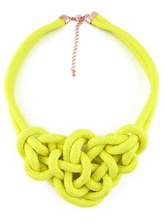 Yellow Twine Elastic Necklace - Sheinside.com
