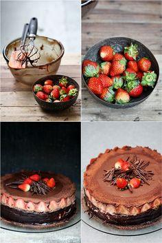 Chocolate Bavarian Mousse Strawberry Birthday Cake