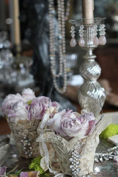 Chic & lovely: pot dentelle shabby