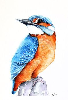 ARTFINDER: Kingfisher by Karolina Kijak -  Original watercolors of Kingfisher Paper 300g  100% cotton, high quality pigments size 18x24cm  Follow me on facebook: https://www.facebook.com/kijakwat...