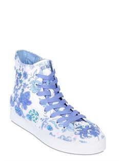 LK - EMBELLISHED CANVAS SNEAKERS FOR LVR - LUISAVIAROMA - LUXURY SHOPPING WORLDWIDE SHIPPING - FLORENCE