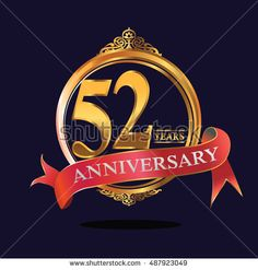 52 years anniversary golden logo with ring and soft red ribbon. anniversary logo for birthday, celebration, wedding, party