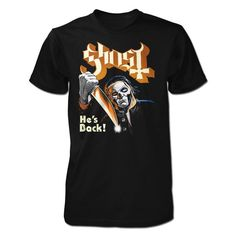 """A limited edition design for Halloween....""""He's Back!"""" design printed on front of this 100% preshrunk cotton black t-shirt. http://shop.ghost-official.com/collections/apparel/products/limited-edition-hes-back-tee?variant=25916487553"""