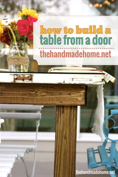 how to build a table using an old door. I've done this with a metal base before, but this wood base looks nice too.
