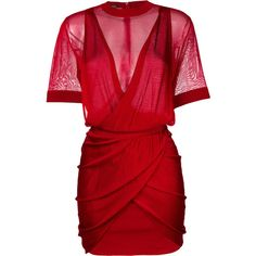 Balmain ruched mini dress (€2.080) ❤ liked on Polyvore featuring dresses, red, form fitted dresses, red fitted dress, red sheer dress, v neckline dress and red mini dress