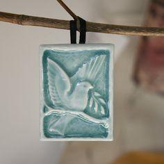 Peace Bird on Branch with laurel leaf  handmade by LesperanceTile, $10.00