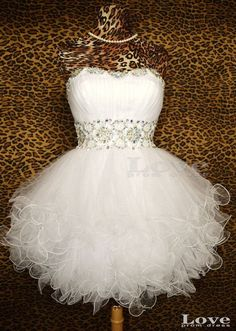 Cheap White Ball Gown Short Prom Dresses Short by LovePromDress, $138.99