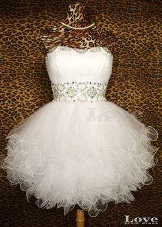 Cheap White Ball Gown Short Prom Dresses Short by LovePromDress, $138.99
