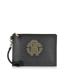 ROBERTO CAVALLI Roberto Cavalli Women's  Black Leather Clutch. #robertocavalli #bags #leather #clutch #hand bags #