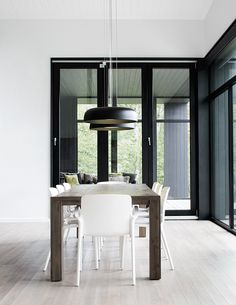 Fully enclosed direct illumination pendant with retro-modern styling Dining Room, Dining Table, Office Inspo, Modern, Toronto Canada, Furniture, Design, Lighting, Pendant