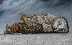 oil on wood: owl