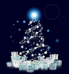 Modern style Christmas tree design. Blue and silver Christmas tree with baubles and gifts. Stock Photo