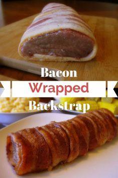 Bacon Wrapped Backstrap - Deer Recipes - Venison Backstrap R Deer Tenderloin Recipes, Deer Backstrap Recipes, Deer Steak Recipes, Venison Backstrap, Venison Tenderloin, Venison Steak, Deer Recipes, Bacon Recipes, Game Recipes