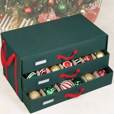 The Holiday Ornament Storage Box gives you a convenient and safe place to store dozens of your favorite Christmas ornaments.