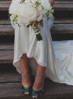 Emerald green wedding shoes | Ryan  Alex Copacabana NSW, Australia Vintage Inspired Bouquet  Green Shoes