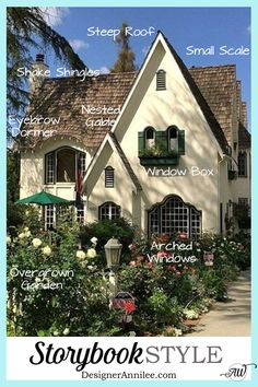 Storybook Style House - Your style guide to all things Storybook style homes.Storybook Style House - Your style guide to all things Storybook style homes. Everything you need to know about Fairytale & Storybook architecture, interiors & de Tudor House, Tudor Cottage, English Cottage Style, Cottage House Plans, French Cottage, French Country Style, English House, English Cottage Exterior, English Tudor Homes