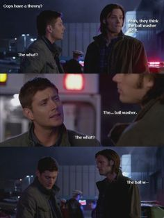 Ahahaha I love how Dean can be immature no matter what. He's staring at a dead body and making jokes about balls.