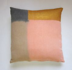 Hand painted color blocked pillow cover by kolorena on Etsy, $40.00