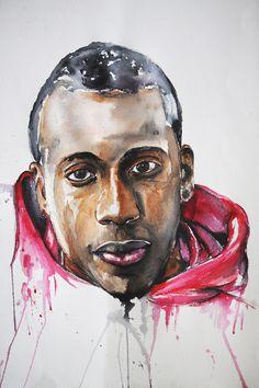 Blaise Matuidi : soccer player PSG France watercolor, aquarelle